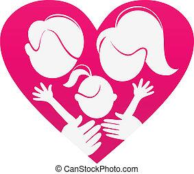 herz, silhouette, familie, abstrakt, familie, sign-love