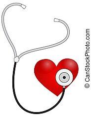 herz, stethoskop