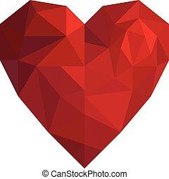 herz, stil, dreieck, freigestellt, poly, valentine, niedrig, hintergrund, weißes, tag