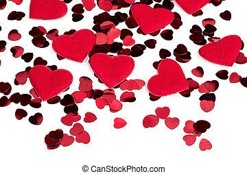 herz, stoff, hintergrund, konfetti, herzen, weiß rot