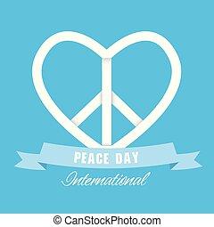 herz, symbol, frieden, tag, vektor, international, bild, geschenkband