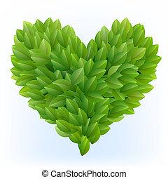 herz, symbol, grüne blätter