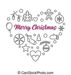 herz-umreiß, abbildung, weihnachten, vektor, icons., frohe weihnacht