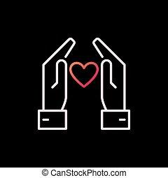 herz-umreiß, bunte, zeichen, vektor, hände, oder, ikone