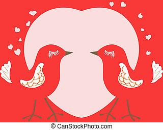 herz, vögel, tag, karte, valentines