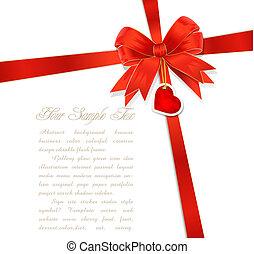 herz, verbeugungen, geschenkband, rotes , geschenk