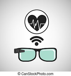 herz, verbunden, klug, puls, brille
