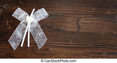 herz, weißes, holz, geschenkband