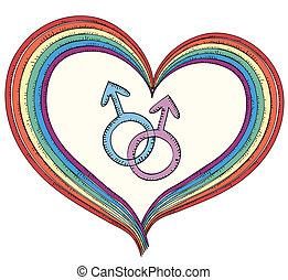 herz, weißes, symbol.rainbow, freigestellt, gay