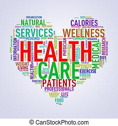 herz, wordcloud, begriff, gesundheit, healthcare