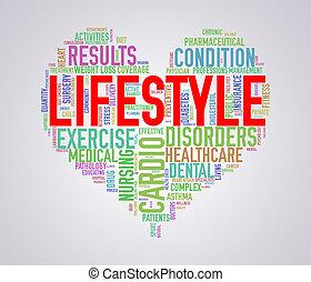herz, wordcloud, begriff, lebensstil, healthcare