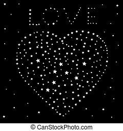 herz, wort, himmelsgewölbe, schwarz, sternen, nacht, liebe