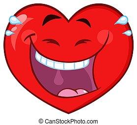 herz, zeichen, gesicht, lachender, ausdruck, karikatur, rotes , emoji