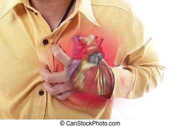 herzanfall, hand, greifen, a, brust