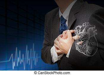 herzanfall, und, herz, schläge, kardiogramm