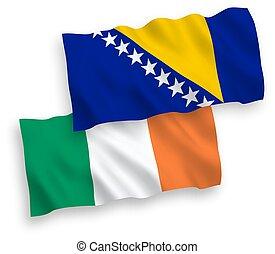 herzegovina, banderas, irlanda, plano de fondo, blanco, ...