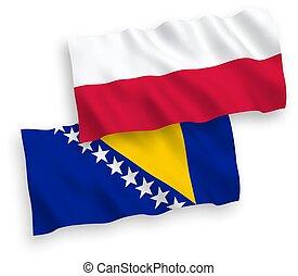 herzegovina, banderas, plano de fondo, polonia, blanco, ...