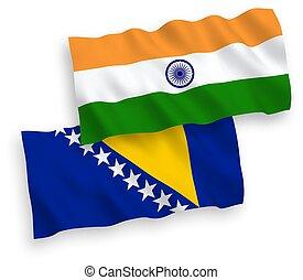 herzegovina, blanco, india, plano de fondo, bosnia, banderas