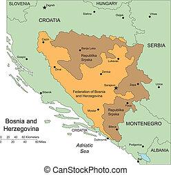 herzegovina, distritos, administrativo, circundante, bosina...