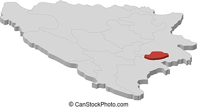 herzegovina, mapa, bosnia, bosnio, -, 3d-illustration, ...