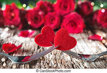 herzen, auf, gabeln, vor, rote rosen