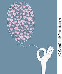 herzen, balloon, halten hand