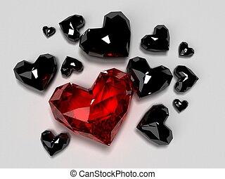 herzen, diamant