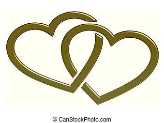 Herzen - herzen, golden, grafik
