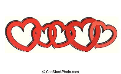 Herzen, Reihe - herzen, reihe