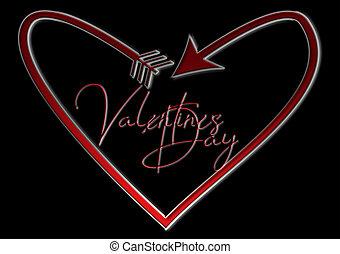 herzf?rmiger, pfeil, día, valentino