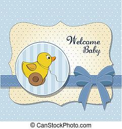 herzlich willkommen, baby, karte, mit, ente, spielzeug