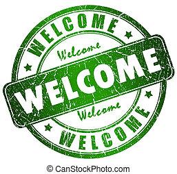 herzlich willkommen, briefmarke