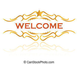herzlich willkommen, design, abbildung, zeichen