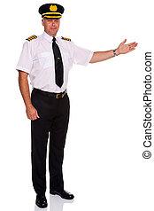 herzlich willkommen, fluggesellschaft, gebärde, pilot