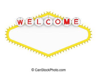 herzlich willkommen, freigestellt, zeichen, las vegas, leer, las