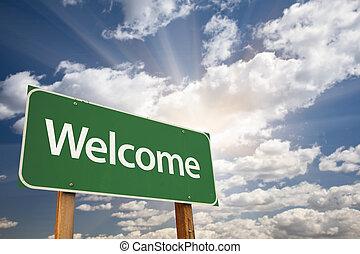 herzlich willkommen, grün, straße zeichen, gegen, wolkenhimmel