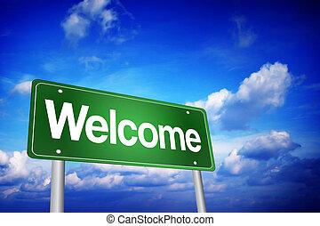 herzlich willkommen, grün, straße zeichen