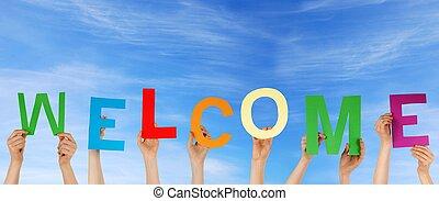 herzlich willkommen, halten hände