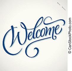 herzlich willkommen, hand, beschriftung, (vector)
