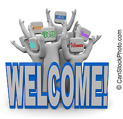herzlich willkommen, -, international, sprachen, leute,...