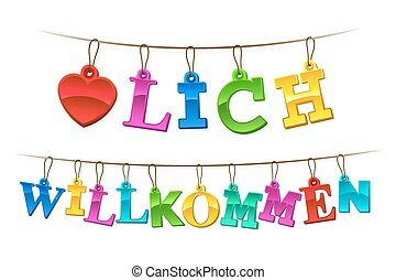 Herzlich willkommen welcome sign in German with a symbolic red heart and letters formed of hangings rainbow colored tags on a string forming a greeting banner or garland, vector illustration on white