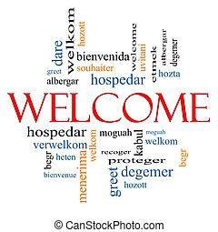 herzlich willkommen, wort, sprache, wolke, fremd