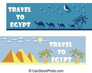 herzlich willkommen, zu, egypt., reise, banner.
