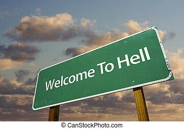 herzlich willkommen, zu, hölle, grün, straße zeichen