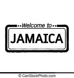 herzlich willkommen, zu, jamaika, abbildung, design