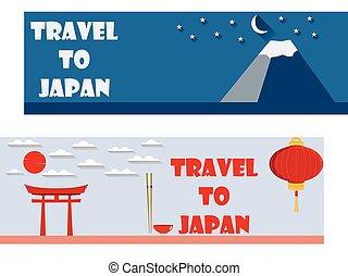 herzlich willkommen, zu, japan., reise, banner.