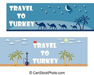 herzlich willkommen, zu, turkey., banner, in, a, wohnung, style., tourism., ticket.