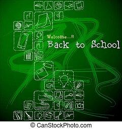 herzlich willkommen, zurück, zu, school.