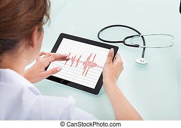 herzschlag, kardiologe, analysieren, tablette, digital
