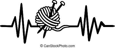 herzschlag, linie, wolle, strickzeug